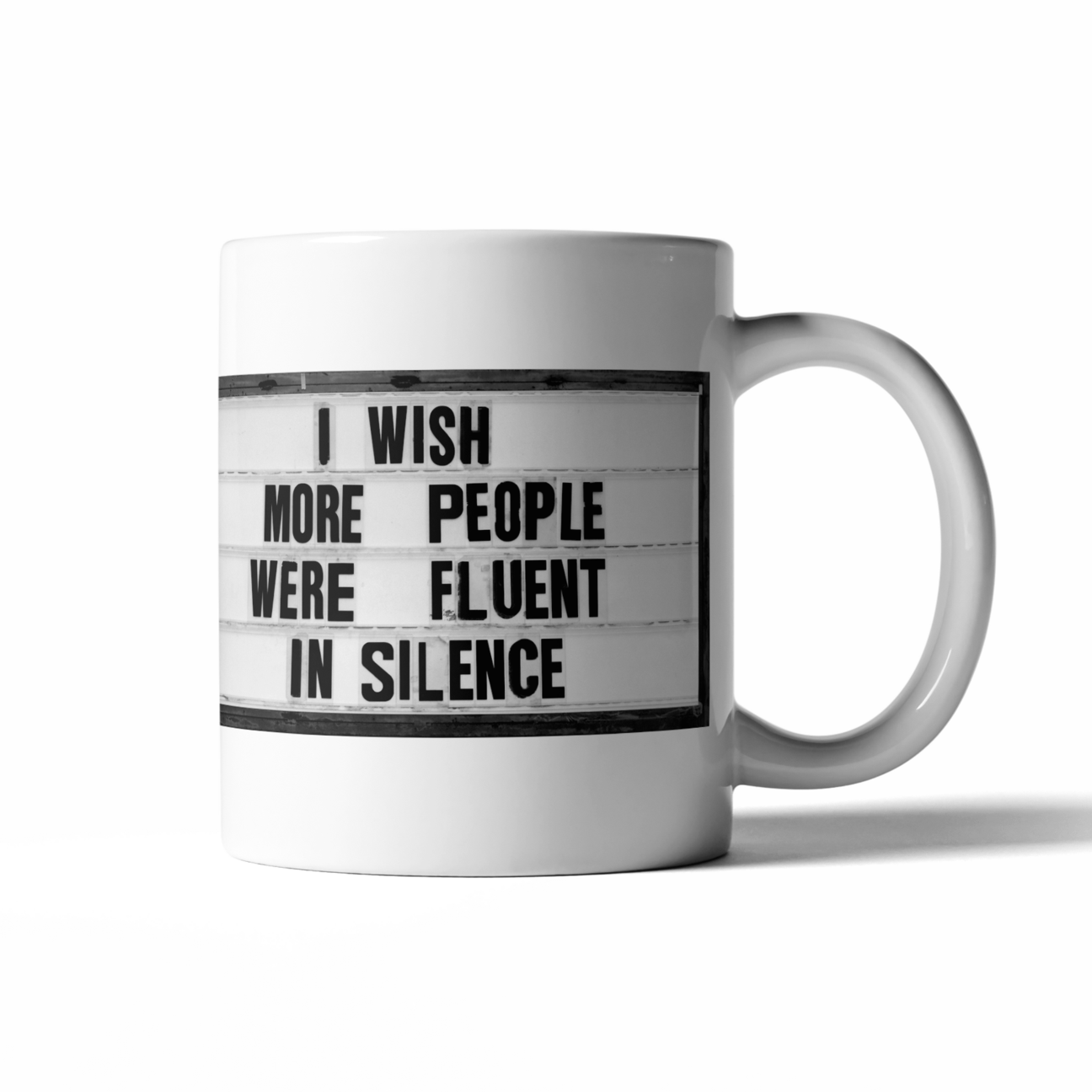 "First thought of the morning: ""I wish more people were fluent in silence"".  Start your day with a little fun with these perfectly sized 16 oz coffee mugs.   16 oz  microwave and dishwasher safe"
