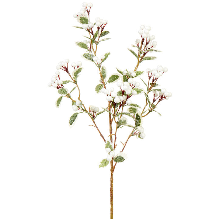 These white berries add a subtle and natural look to any home! Pop a few of them in your Christmas tree, garland, or wreath! They would even look darling added into a flower arrangement!  Made of styrofoam.  Dimensions: 39.5""