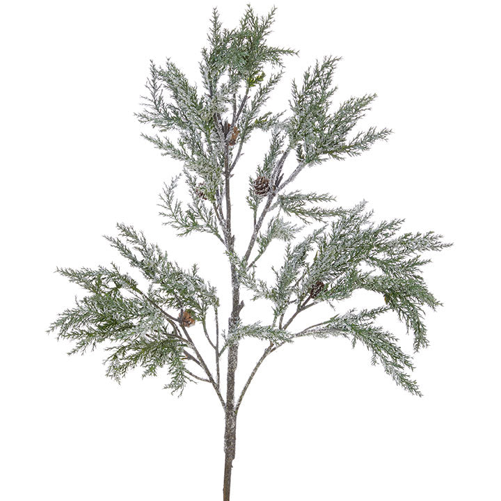 "These snowy cedar branches, featuring small pine cones and a snowy finish, are perfect for adding greenery and texture with rustic farmhouse charm for the holidays. Made of Plastic 42"" long"