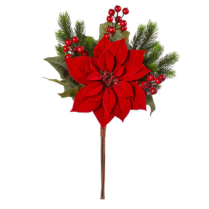 "Brighten up your home with a few of this stunning pick! It features a branch with a bright red poinsettia made from velvet and trimmed in berry and fir!  Dimensions: 23""."