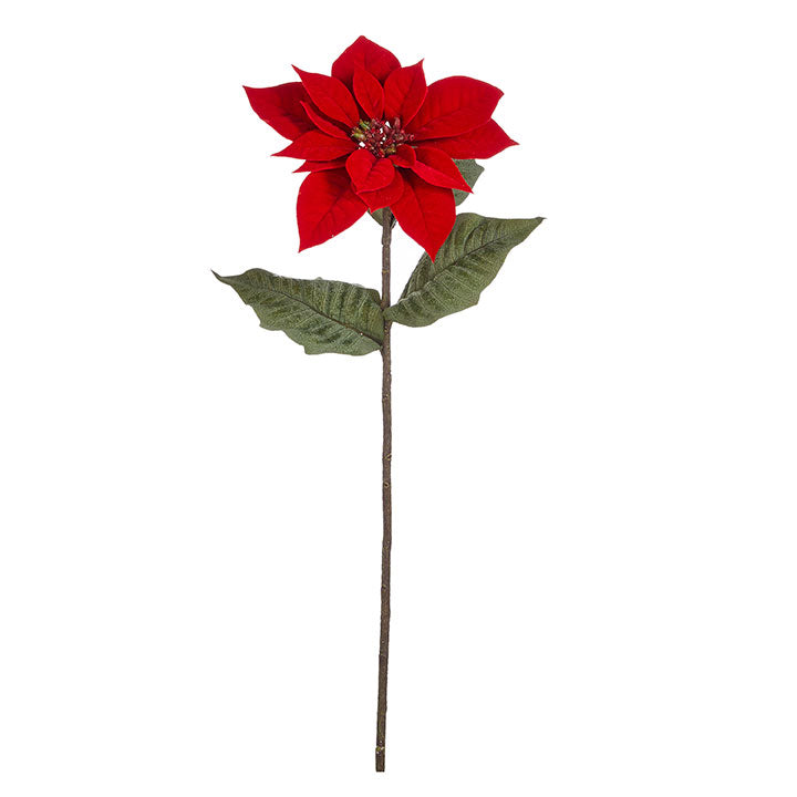 "The traditional flower of the season, the poinsettia is a classic. This 11-inch Christmas Poinsettia flower blooms with vivacious red color and lifelike berry center. Blossoming from a 22"" stem, the poinsettia flower can be added to a holiday bouquet or any other place in your home to add a look of warmth. 22 in. stem Made of Polyester"