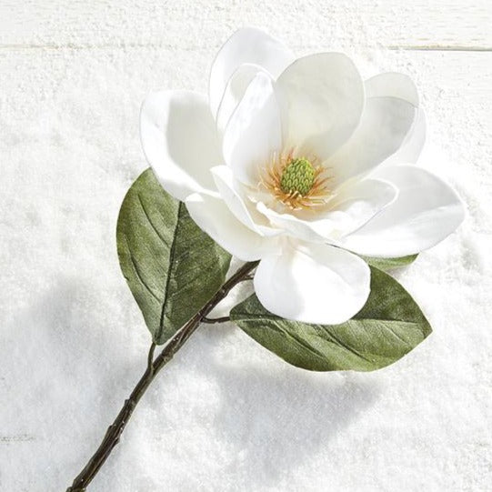 Magnolia flowers are gorgeous and add a touch of elegance to any home! Pop a few of these large white flowers in your Christmas tree for a stunning botanical feel!   Made of polyester.  Dimensions: 29""