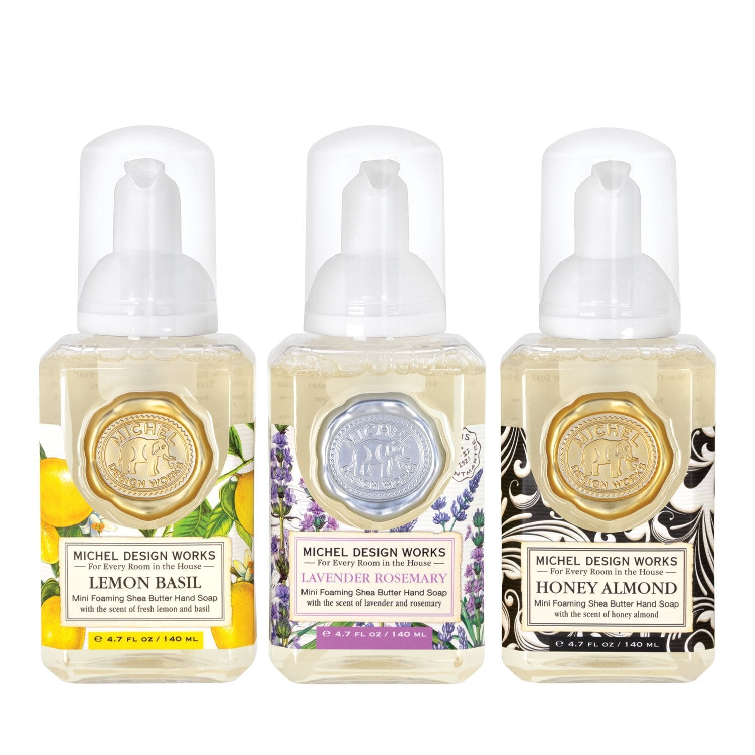 This mini foaming hand soap set is the perfect way to try several of Michel Designs fragrances! The set features the popular Lemon Basil, Lavender Rosemary and Honey Almond scents, and contains shea butter and aloe vera for gentle cleansing and moisturizing.