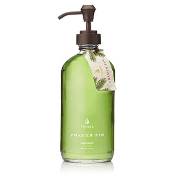 Gentle, glycerin-enhanced lather keeps hands cleansed and moisturized, leaving behind a light touch of the crisp, just-cut forest fragrance of Frasier Fir. Beautiful glass bottle comes complete with a fabric hang-tag, making a thoughtful gift to give or receive. 15 fl oz.