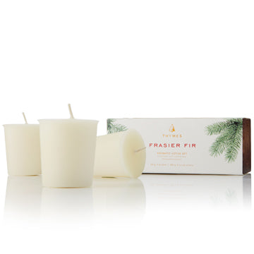 Mountain fresh and glowing, this scented votive candle set enhances any décor or makes an elegant hostess gift. Fills your home with crisp, just-cut forest fragrance that evokes seasonal celebrations, holidays and the winter solstice. Sized perfectly to refill our Frasier Fir Votive Candle glass. Our  Non-metal wick provides a clean, pure burn. Approximately 15 hours.