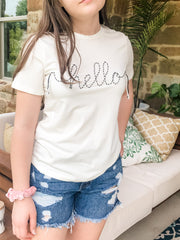 "Hello world! This fun emroidered t-shirt says it all! Pair it with your favorite lounging bottoms, denim shorts or dress it up with some colored summer skinny jeans.    Sizing:  Fits True to Size Model is 5'2"" and is wearing a size small. Small: 0-4 Medium: 5-8 Large: 9-12"