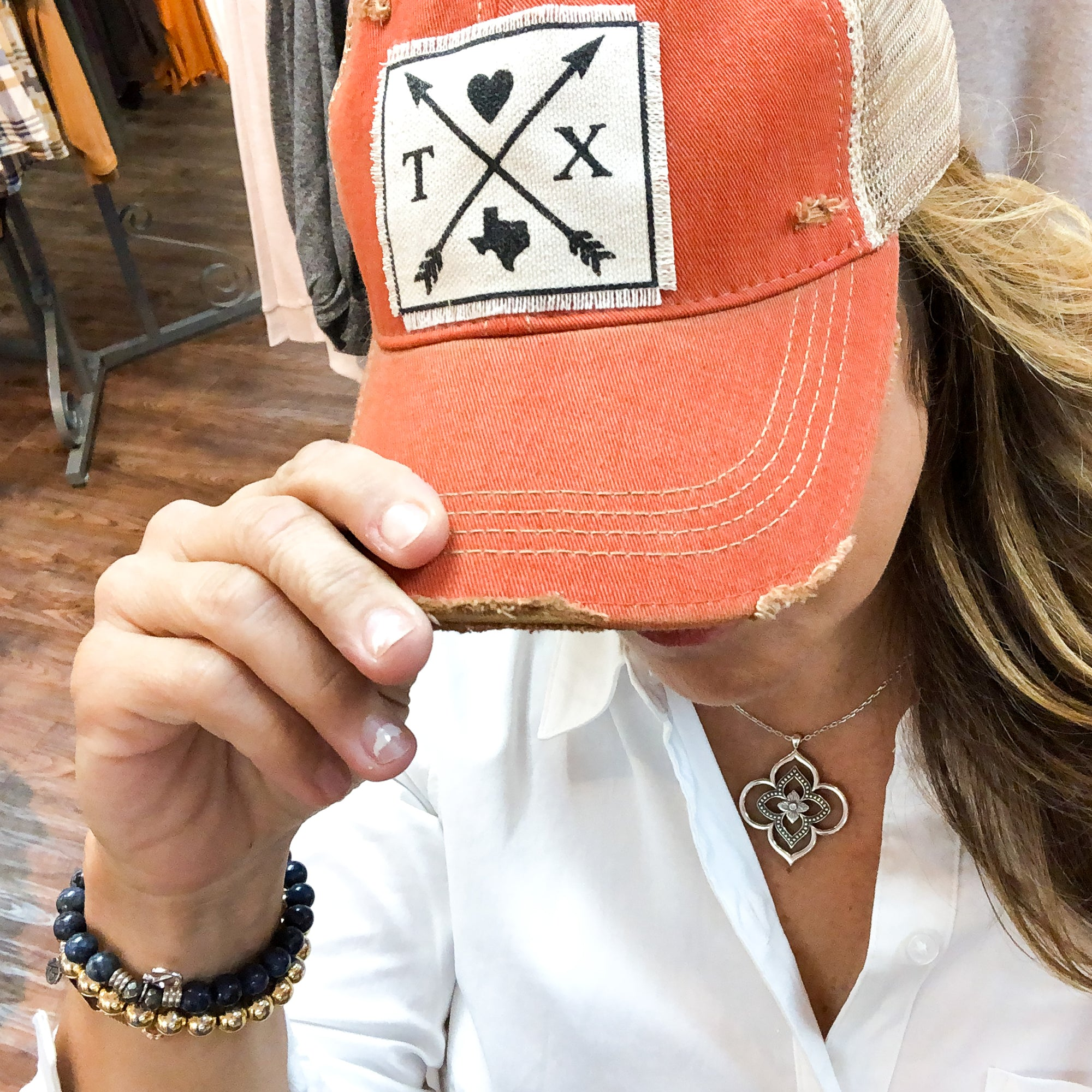 Always in Orange Texas Distressed Baseball Cap With Mesh Back