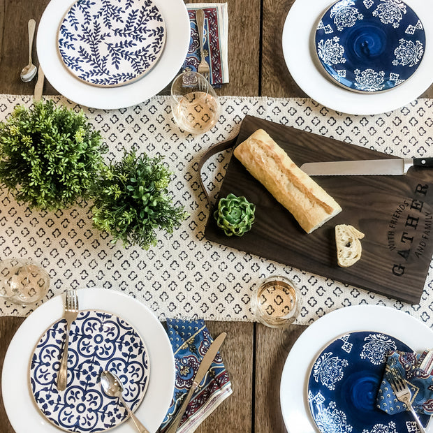 "Indigo Salad Plates These stoneware salad plate features debossed mosaic pattern surface in 3 different moraccan inspired patterns. They pair beautifully with white dinner plates or just use them on their own.  Each plate is 8 1/2"" diameter."