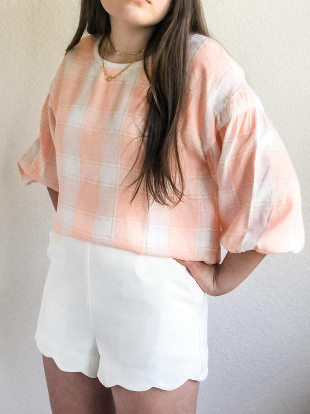 Feeling Peachy Plaid Top