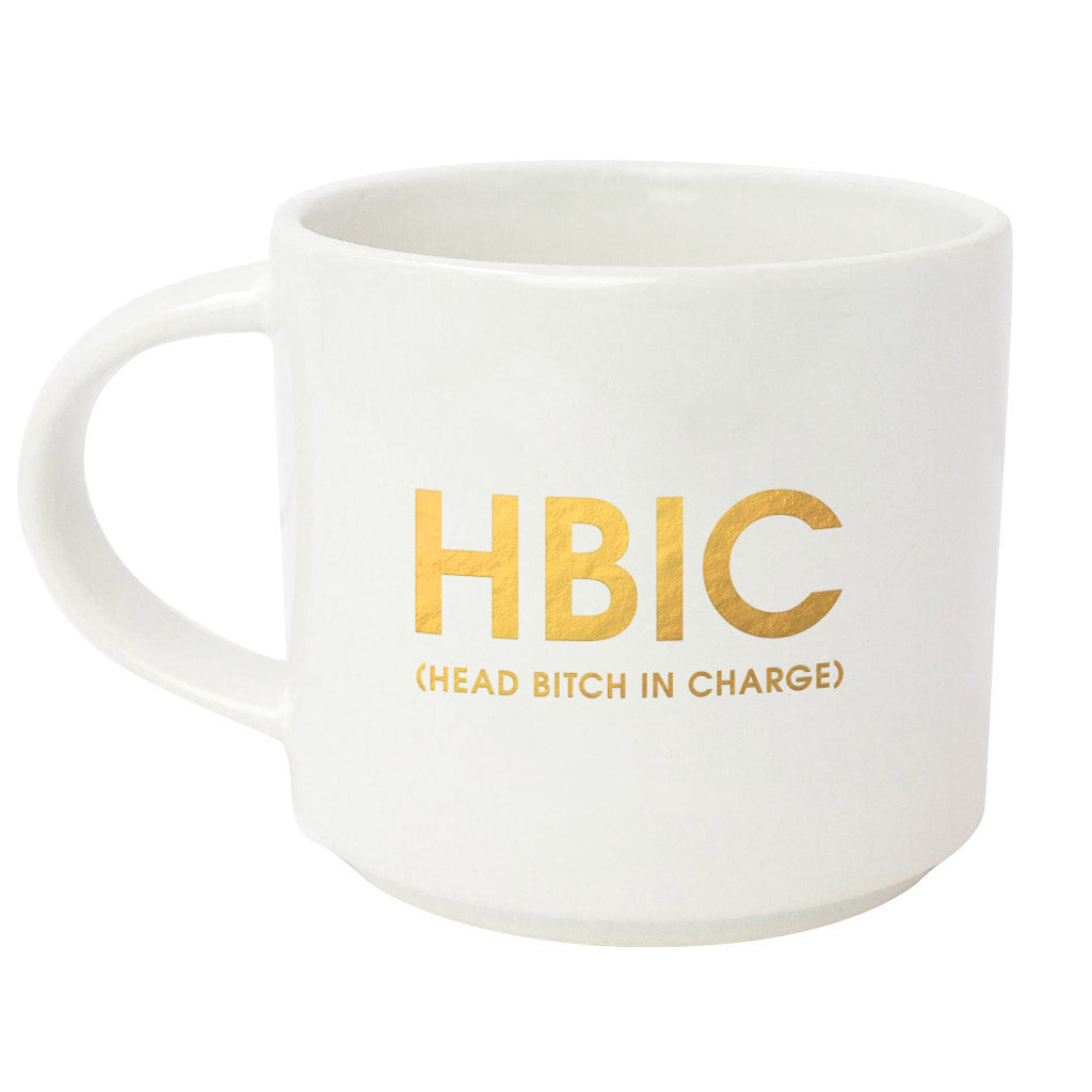 "Start your day with some fun! This ""HBIC"" gold foil imprint mug from Chez Gagne is perfect for your coffee, tea or wine.  Oversize 16oz. Ceramic Mug Gold Foil Lettering Stackable Hand Wash Only. Do Not Microwave."