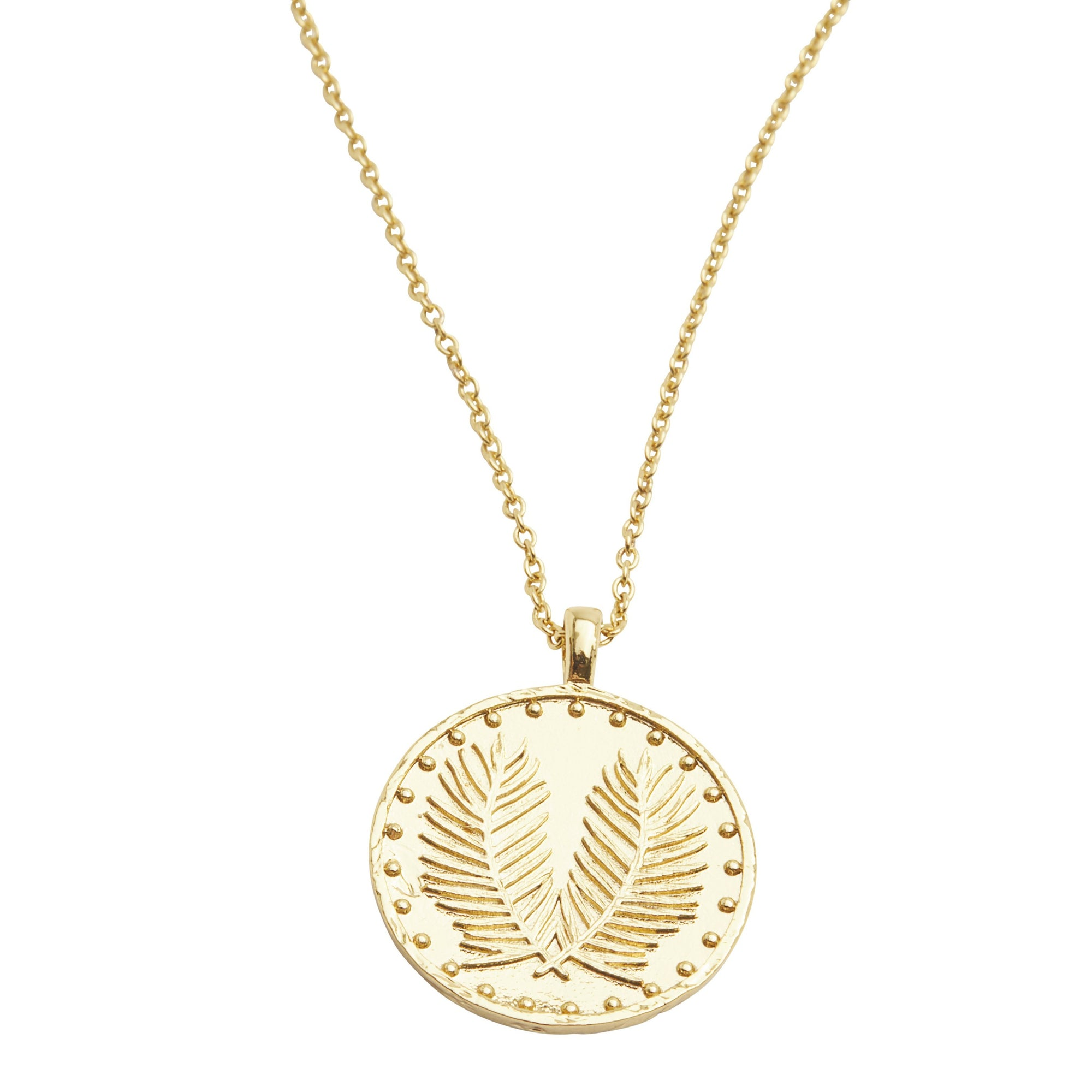"Gorjana Palm Coin Necklace  This unique coin necklace has the feel of a family heirloom. This coin charm centers on an ever-so-dainty ball chain that effortlessly elevates your layered look. Adjustable. Chain extends out to 19"". Coin is 3/4"" across. Spring ring closure with silicone slide bead. Available in 18k gold plated brass."