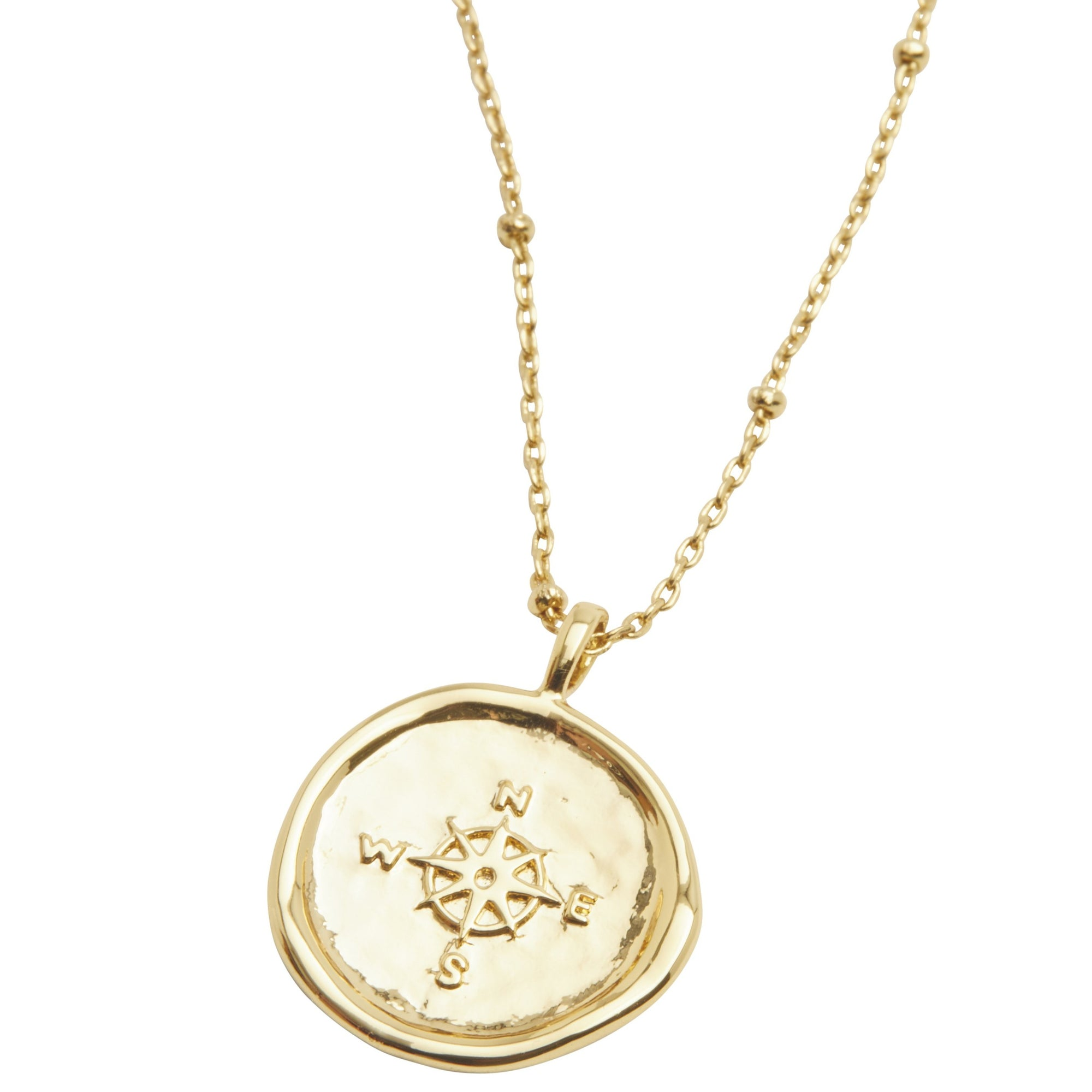 Gorjana Compass Coin Necklace. This unique coin necklace has the feel of a family heirloom. This coin charm centers on an ever-so-dainty ball chain that effortlessly elevates your layered look.