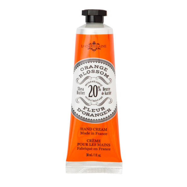 La Chatelaine Ultra-Rich Orange Blossom hand cream is blended with organic Shea Butter, Vitamin E and Argan Oil to deeply moisturize, nourish and protect. The creamy texture absorbs quickly for immediate hydration and intense repair to effectively leave hands soft, smooth and rejuvenated. This luxurious hand cream will become an essential part of your beauty ritual.