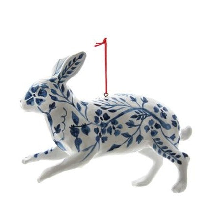 Celebrate the season in timeless blue and white style. This chinoiserie hare ornament is the perfect addition to your Christmas collection.