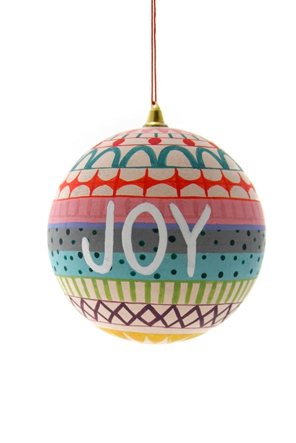 "This festive ball ornament is the perfect Joy to add to your holiday tree or gift to a friend.  Ball is approx 3"" round."
