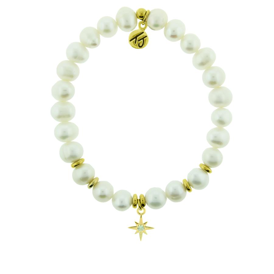 White Pearl Beaded Bracelet- The Gem of the sea. Known to symbolize new beginnings, prosperity, love, and inner beauty.  Your Year Charm- This charm is a symbol of new beginnings.  When you put on this bracelet know that you got this! Let go of the past, do what makes you happy and let this year be your year! YOU are unstoppable.