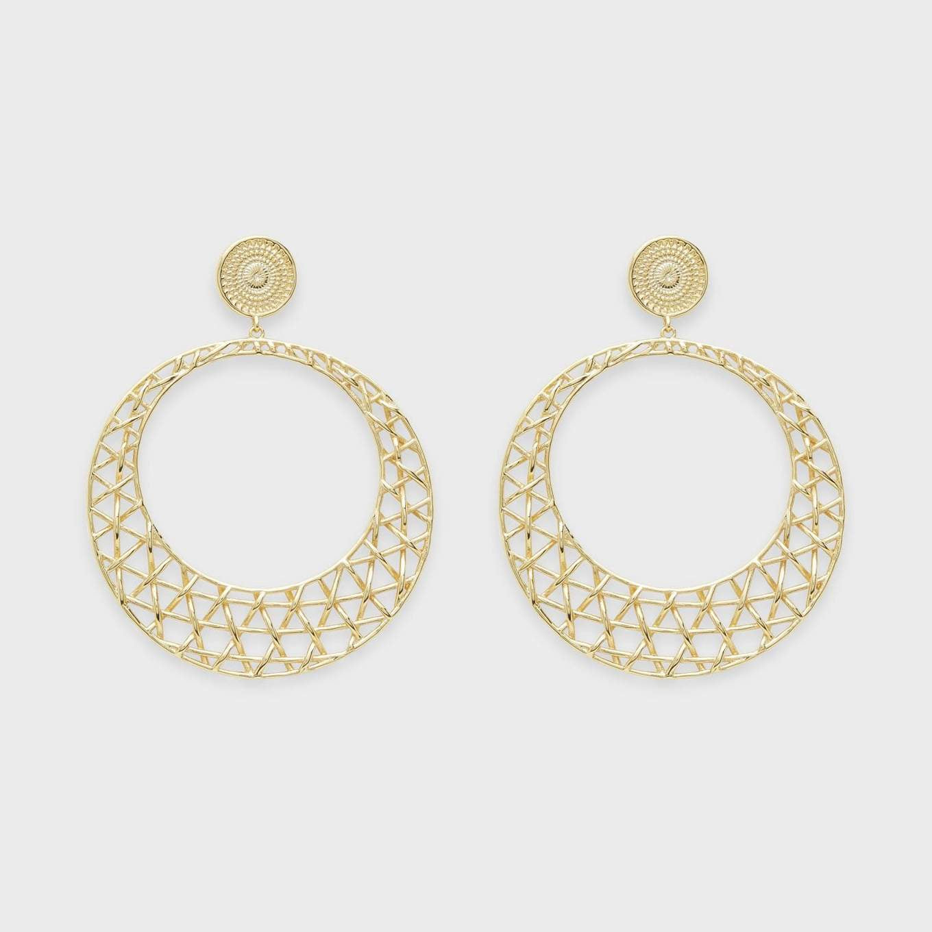 "We've never been afraid to make a statement. These deceptively lightweight drop hoops are an effortless way to dress up your poolside look.  2 1/4"" total drop 7/16"" stud diameter 1 3/4"" hoop diameter Post back 18k gold plated brass"