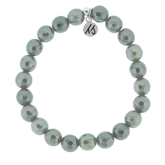 Classic Grey Agate Stacker 8mm Stone Bracelet- Worn to bring supportive energy to the wearer. Known for its healing and soothing qualities. Grey Agate is also known to enhance decision making.  8mm Grey Agate stones