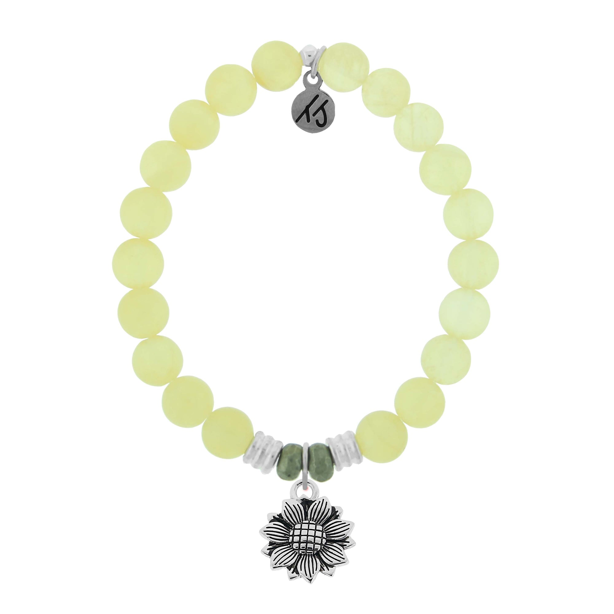 Yellow Calcite is the stone of Confidence and positivity.  Sunflower Charm - Facing the sun the Sunflower becomes a unique and stunning flower. Each growing beautifully in all different shapes and sizes. Wear your Sunflower beaded sterling silver charm bracelet as an everyday reminder to shine bright knowing how unique and lovely you are.