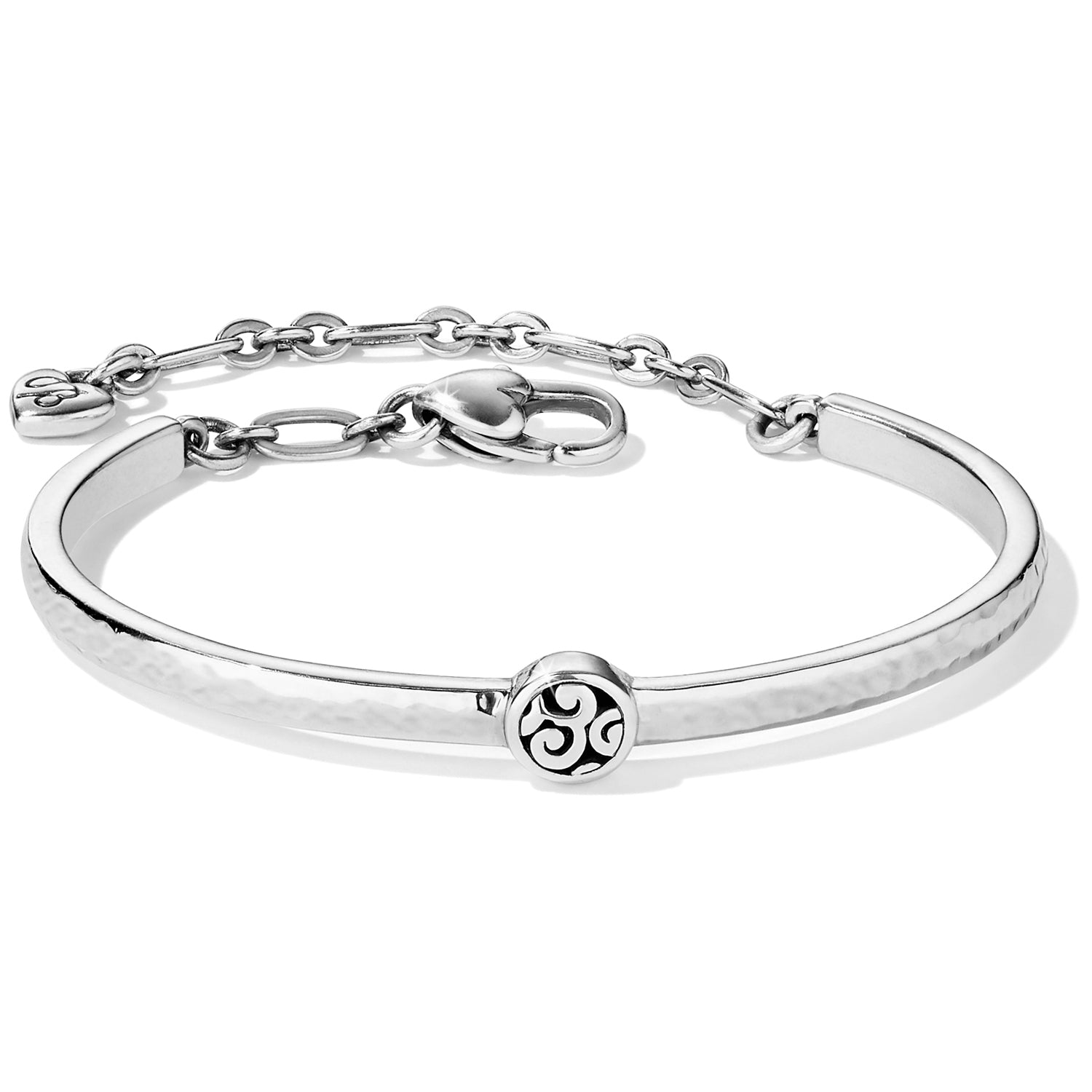 "Punctuated by a circular framework of our Mingle motif scrolls, this sleek slender bar bracelet offers a signature Brighton look and is great for stacking. Width: 5/16"" Closure: Lobster Claw Length: 7 3/8"" Total Finish: Silver plated"