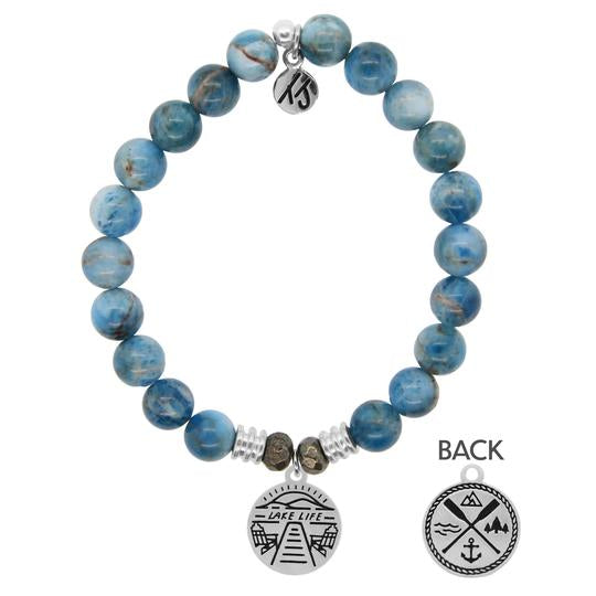 Arctic Apatite is the stone of courage and creativity.    Lake Life Sterling Silver Charm- Life is better by the Lake. A place where happiness fills the soul, your mind is at ease, memories are made & a feeling of calmness takes over. Wear this charm as a reminder of what the Lake means to you.