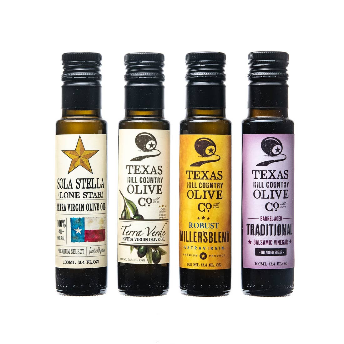 The Texas Hill Country's Award Winning Mini Set includes 3 of our most awarded extra virgin olive oils plus their most popular Traditional Balsamic Vinegar.  Sola Stella Extra Virgin Olive Oil (100m) Terra Verde Extra Virgin Olive Oil (100m) Texas Millers Blend Extra Virgin Olive Oil (100m) Traditional Balsamic Vinegar (100m) This set makes the perfect gift and is a great sampler to familiarize yourself and others with our award-winning products.