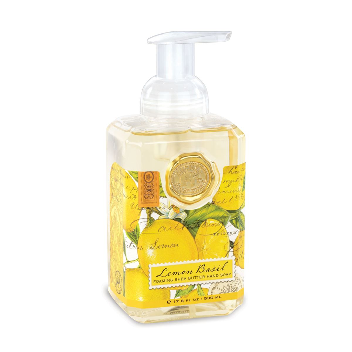 What could be better than the most-loved Lemon Basil, with its fresh citrus scents of lemon and mandarin enhanced with green basil leaf? This generously sized foaming hand soap contains luxurious shea butter and aloe vera for gentle cleansing and moisturizing.