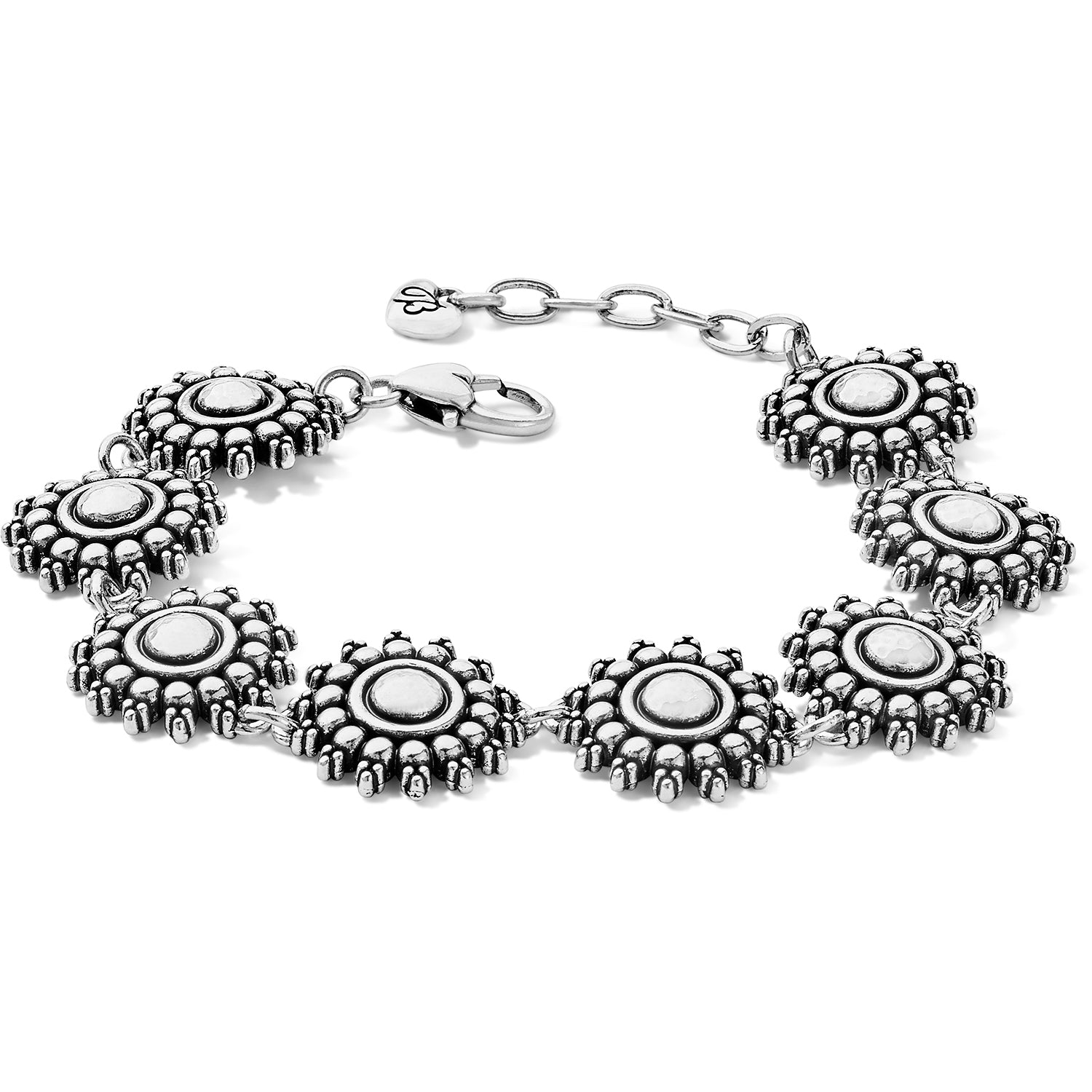 "Made up of eight sun inspired elements that form an exquisite soft bracelet.  Width: 3/4"" Closure: Lobster Claw Length: 7 1/4"" - 8 1/4"" Adjustable Finish: Silver plated"
