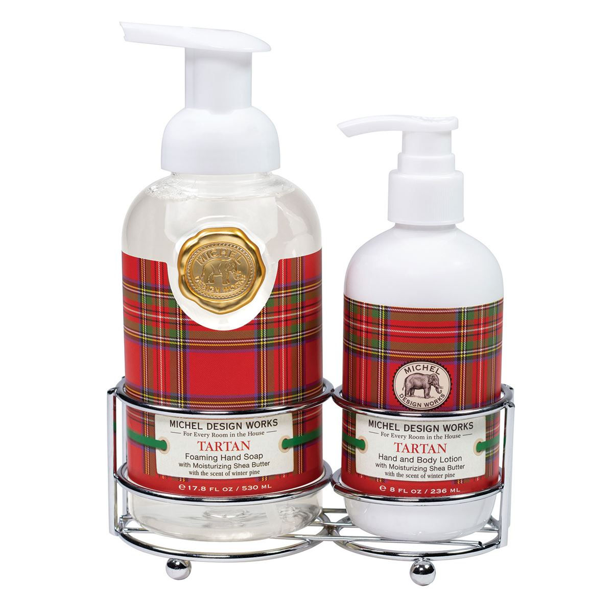 A silver-toned caddy holding our popular foaming hand soap and rich hand lotion together in one place, whether that is in the bath or the kitchen. Very elegant, very convenient.