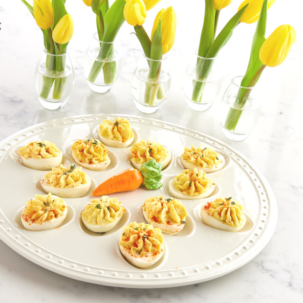 Nothing says springtime like a platter of deviled eggs! What better way to dress them up but with a nora fleming server!