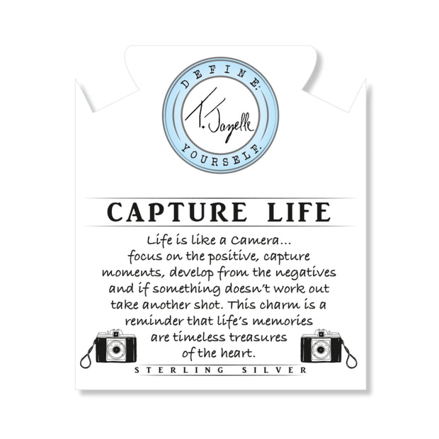 Life is like a camera... focus on the positive, capture moments, develop from the negatives and if something doesn't work out take another shot. This charm is a reminder that life's memories are timeless treasures of the heart.