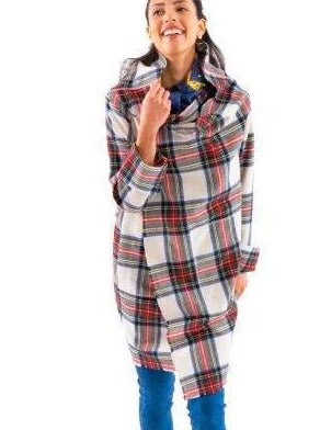 "Wrap yourself in this beautiful plaid shawl collar coat. It's the perfect lightweight layer for around town or over your party clothes.  42"" Length Oversized Shawl and Collar Turned Back Cuffs to Self Every Edge is Frayed Patch Oversized Pockets Bond Inner Seams"