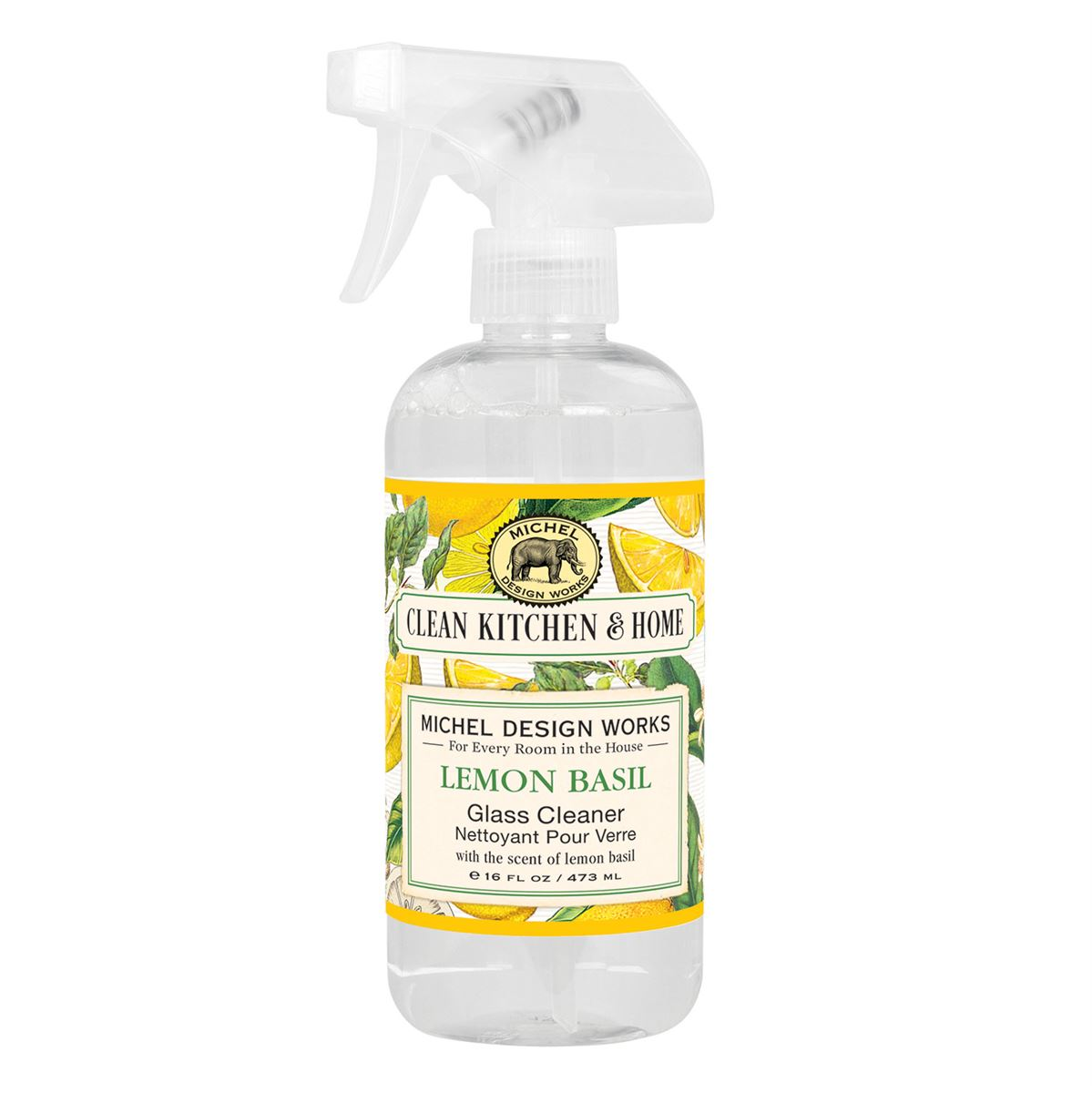 Spray-on cleaner scented in lemon basil that is perfect for glass, but it is also makes tile, chrome, and mirrored surfaces shine. Just use with a clean, non-linting cloth or a paper towel.