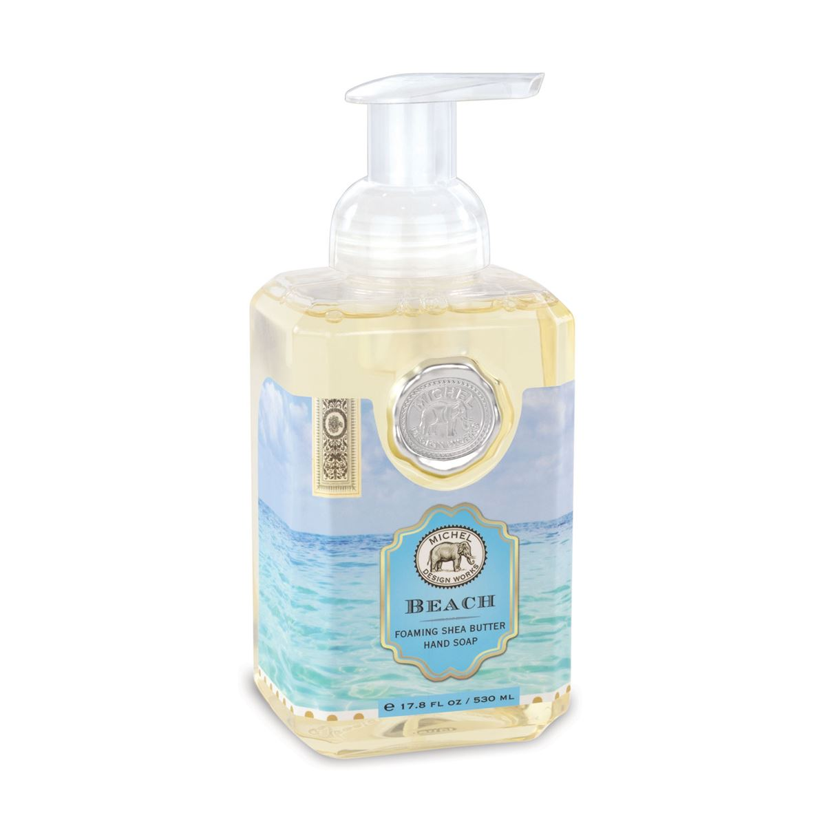 The refreshing Beach scent features compelling marine notes with hints of bergamot, amber and watermelon. This generously sized foaming hand soap contains luxurious shea butter and aloe vera for gentle cleansing and moisturizing.  17.8 fl. oz. / 530 ml liquid