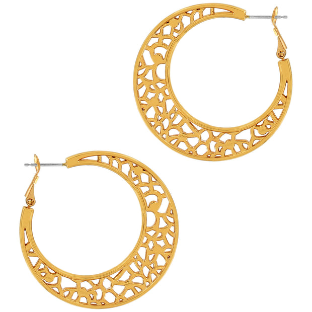 "Dotted with delicate Swarovski crystals, the lacy lines of underwater coral reefs play out on these golden hoop earrings. Understated and refined, with the look of fine jewelry, for an oh-so-subtle coastal vibe.  Width: 1/8"" Type: Post with Lever back Drop: 1 1/2"" Material: Swarovski crystal, Enamel Finish: Gold plated"