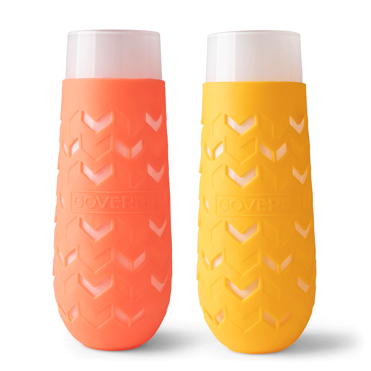 "Goverre is a glass, portable, stemless champagne flute with a silicone sleeve. This set includes 1 coral and 1 mango colored sleeved glassses. Durable—thicker (.25"") than a typical champagne flute Preserves taste and integrity of your bubbly."