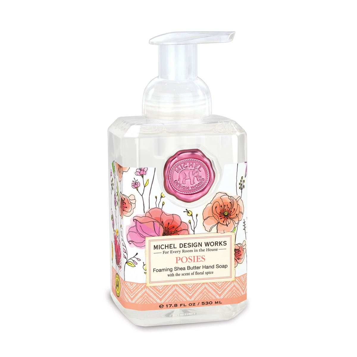 The spicy floral of Posies features tuberose and bergamot with splashes of freesia, rose, and cognac. The generous size of this foaming hand soap proves you can offer great value without sacrificing quality. Plus it contains luxurious shea butter and aloe vera for gentle cleansing and moisturizing.