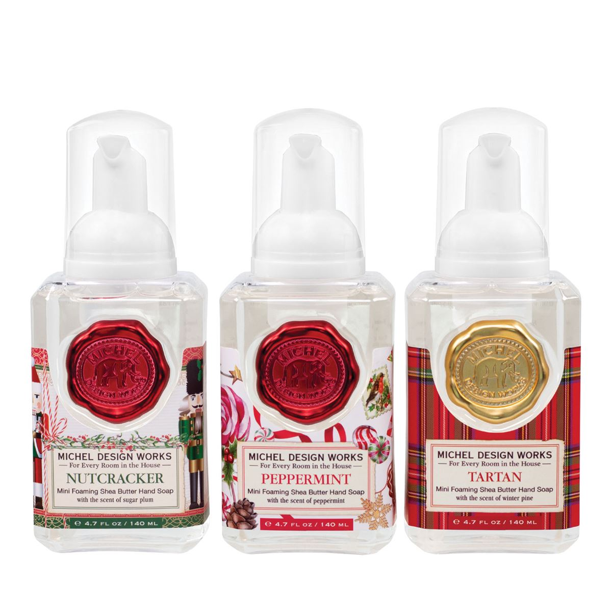 This mini foaming hand soap set is the perfect way to try several of Michel Design Works holiday fragrances! The set features the popular sugarplum-scented Nutcracker, Peppermint, and a winter-pine fragranced Tartan. All have their signature blend of shea butter and aloe vera for gentle cleansing and moisturizing.