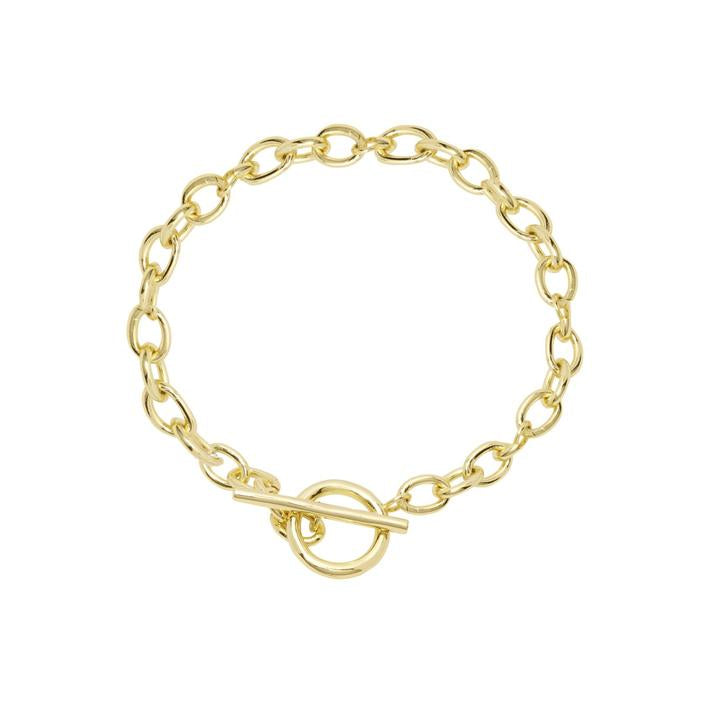 "7 3/16"" chain 1/2"" diameter ring 7/8"" long bar Toggle closure 18k gold plated brass Avoid contact with anything containing derivatives of alcohol"