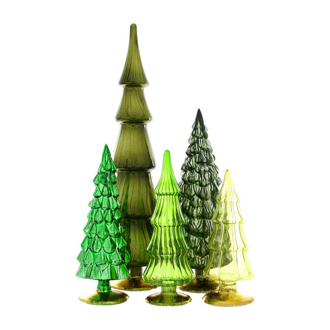 "Create a display of festive greens with these glass trees. Their mottled antiqued surfaces beautifully reflect lights and will add a beautiful touch of color to your display.  Set of five trees in assorted sizes. Made of glass. Extra small: 3""Dia. x 7.5""T. Small: 3.25""Dia. x 9""T. Medium: 3""Dia. x 8.5""T. Large: 4.25""Dia. x 11.5""T. Extra large: 4""Dia. x 17""T. Imported."