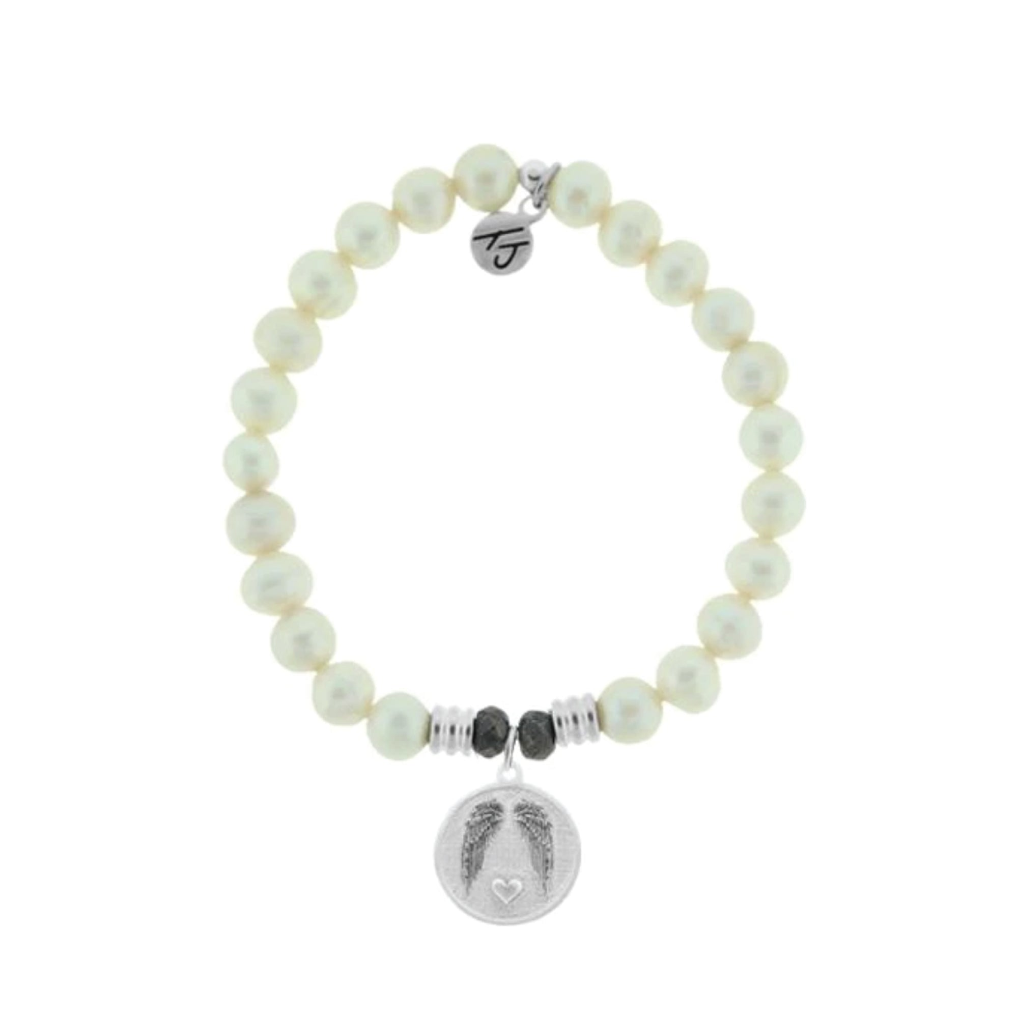 White Pearl Handmade Beaded Stone Bracelet: The Gem of the sea. Known to symbolize new beginnings, prosperity, love, and inner beauty.   Guardian Charm: Those we love don't go away they walk beside us everyday. This charm is your reminder that your angel is always with you, each and every day.