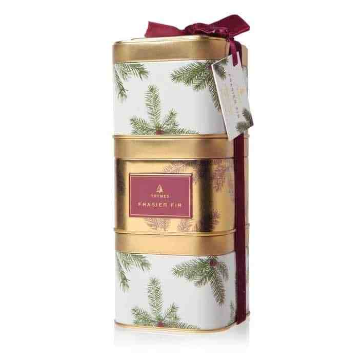 This is a great value you don't want to pass up!! NEW Frasier Fir Novelty Collection was thoughtfully designed with the art of gifting in mind. Spread holiday cheer with Three candles as gifts or keep them all for yourself!  These will Make perfect stocking stuffers or hostess gifts.   Each tin is 9ozs of the wonderful Frasier Fir Scent