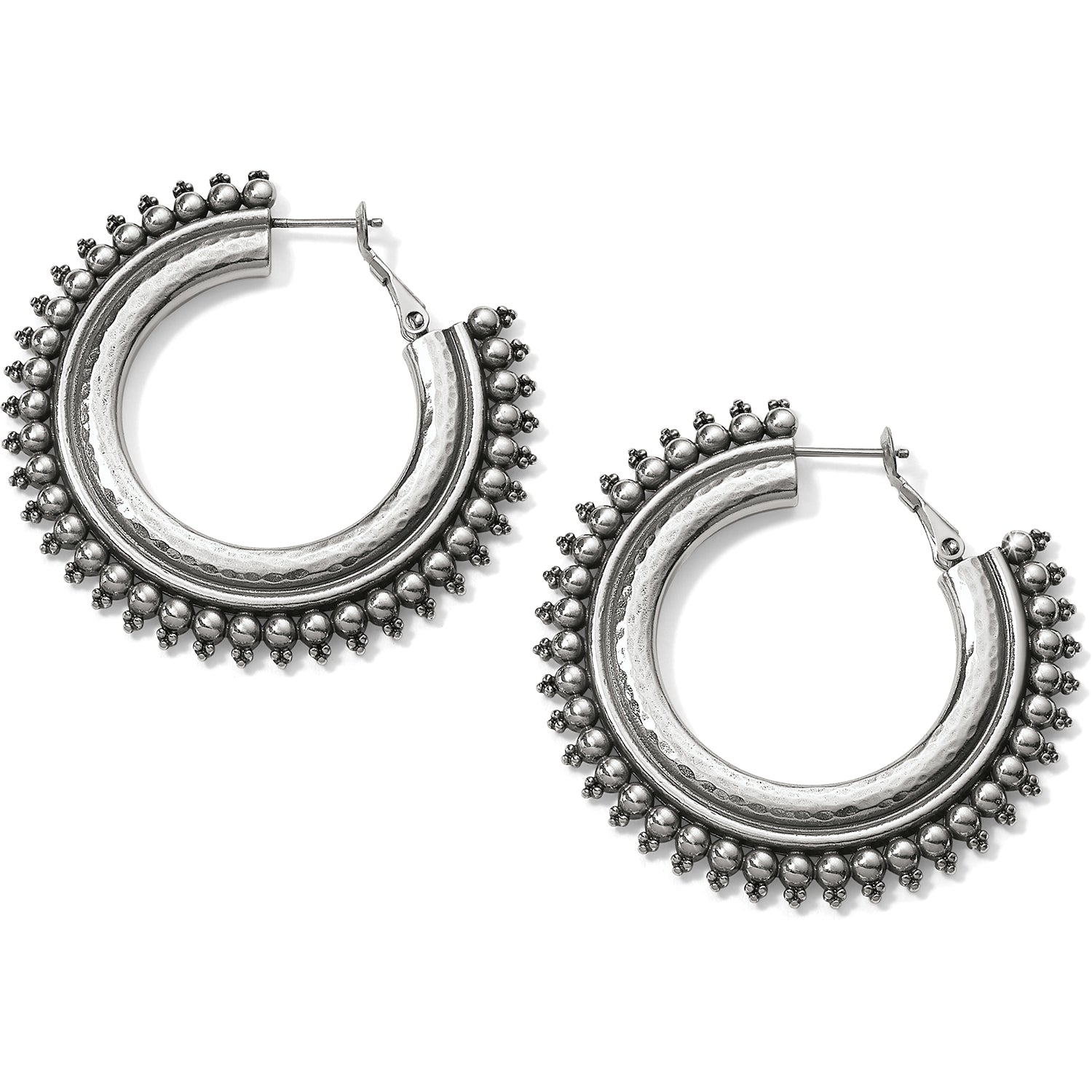 Brighton Jewelry Telluride Hoop Earrings. At once elegantly sporty and lively, this jewelry collection offers two old-world handcrafting techniques--hammering and granulation. These statement-making bold hoops lend an instant Boho vibe to your look.