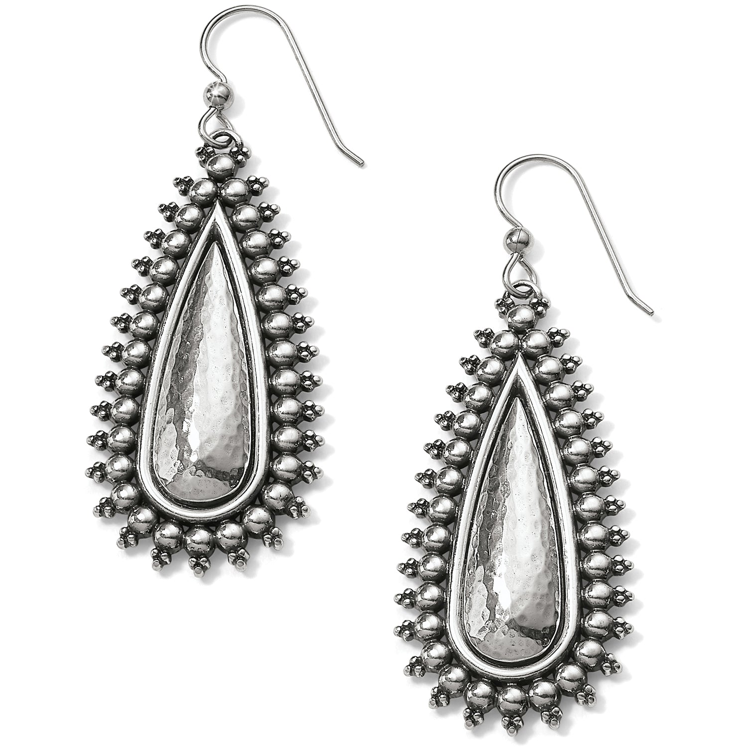 Brighton Jewelry Telluride Teardrop French Wire Earrings. At once elegantly sporty and lively, this jewelry collection offers two old-world handcrafting techniques--hammering and granulation. These statement-making drops lend an instant Boho vibe to your look.