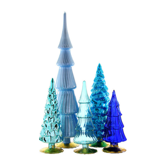 "Create a display of wintry blue hues with these glass trees. Their mottled antiqued surfaces beautifully reflect lights and will add a beautiful touch of color to your display.  Set of five trees in assorted sizes. Made of glass. Extra small: 3""Dia. x 7.5""T. Small: 3.25""Dia. x 9""T. Medium: 3""Dia. x 8.5""T. Large: 4.25""Dia. x 11.5""T. Extra large: 4""Dia. x 17""T. Imported."