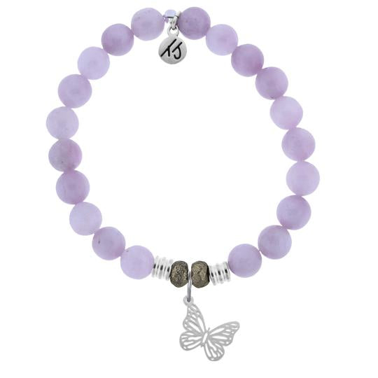 Kunzite is the stone of healing and love. Known to help relieve anxiety.  Butterfly Sterling Silver Charm - A Butterfly is known to have the symbolic meaning of transformation, rebirth, love and beauty. Wear this Butterfly charm bracelet as a reminder that like a Butterfly, you too, can transform anything you wish in life; all you need to do is spread your wings and fly.