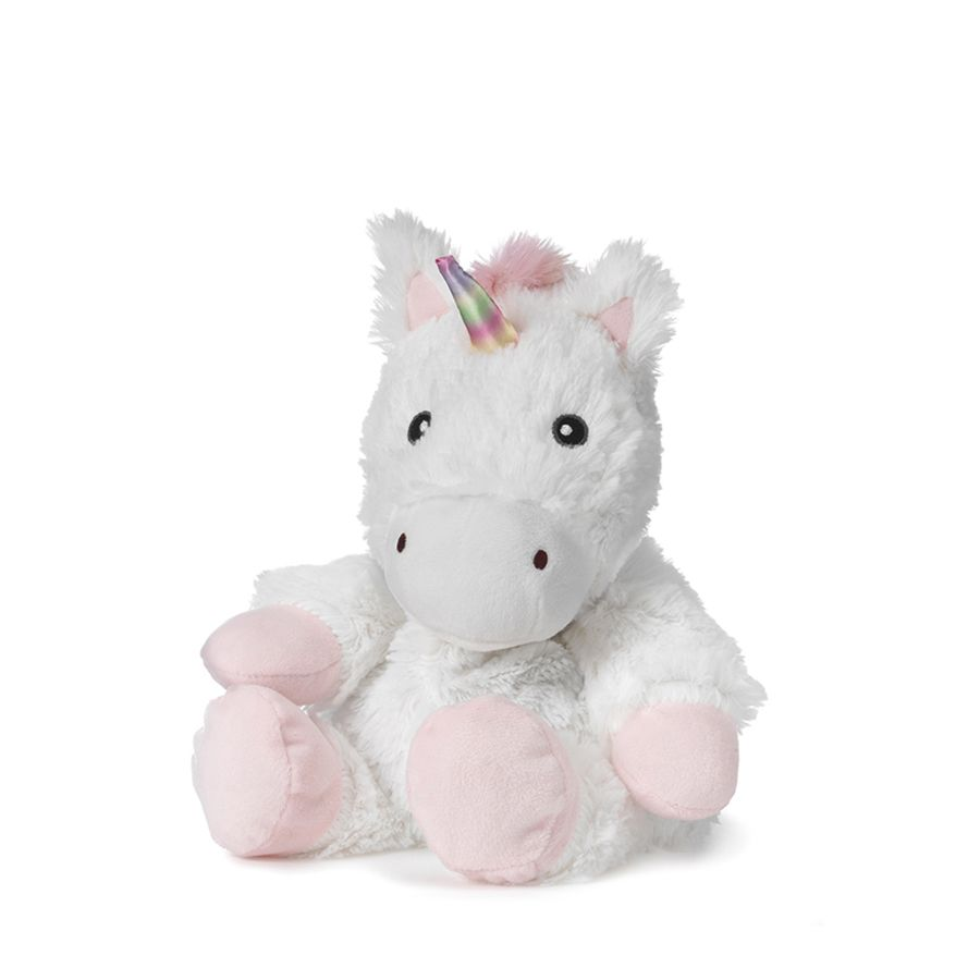 The Warmies White Unicorn is a fun, fully microwavable stuffed animal made from luxurious soft plush.  Entirely safe to hold right after heating. The Calico Cat is gently scented with French lavender that is carefully sourced from local growers in Provence.