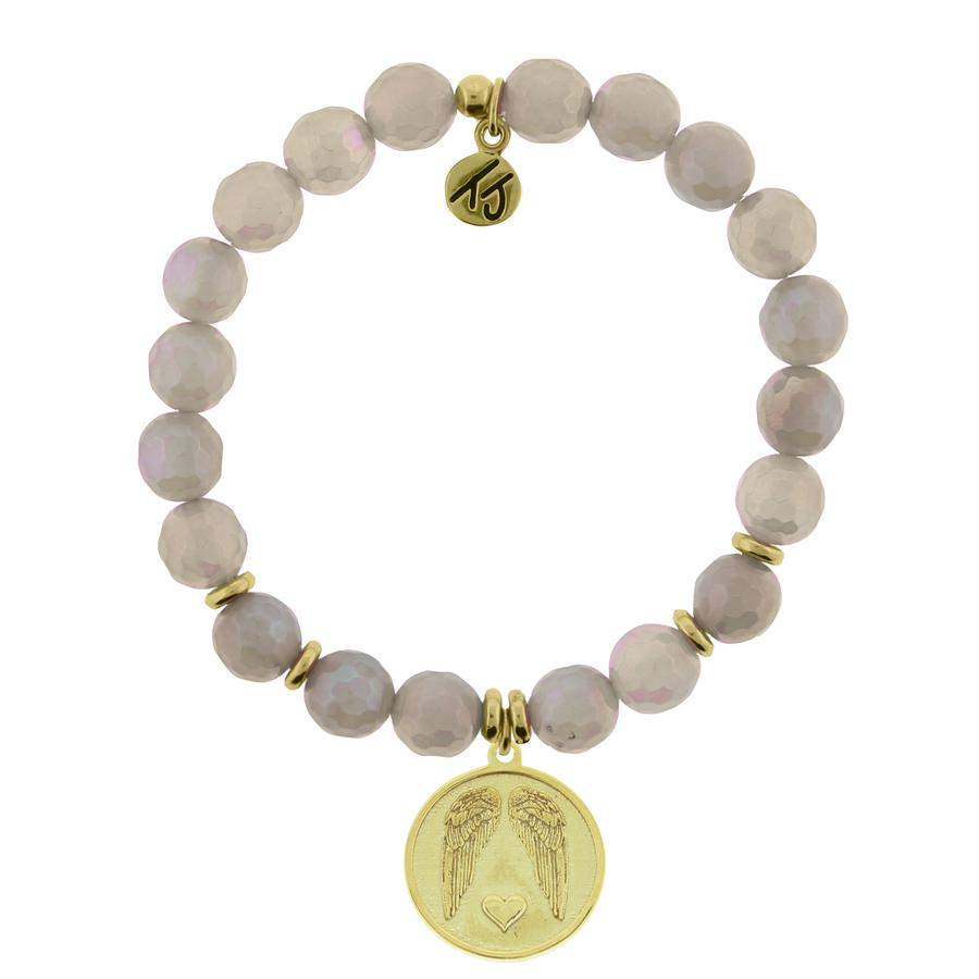T. Jazelle Gold Collection - Gold Collection - Mystic Grey Agate Stone Bracelet with Guardian Gold Charm
