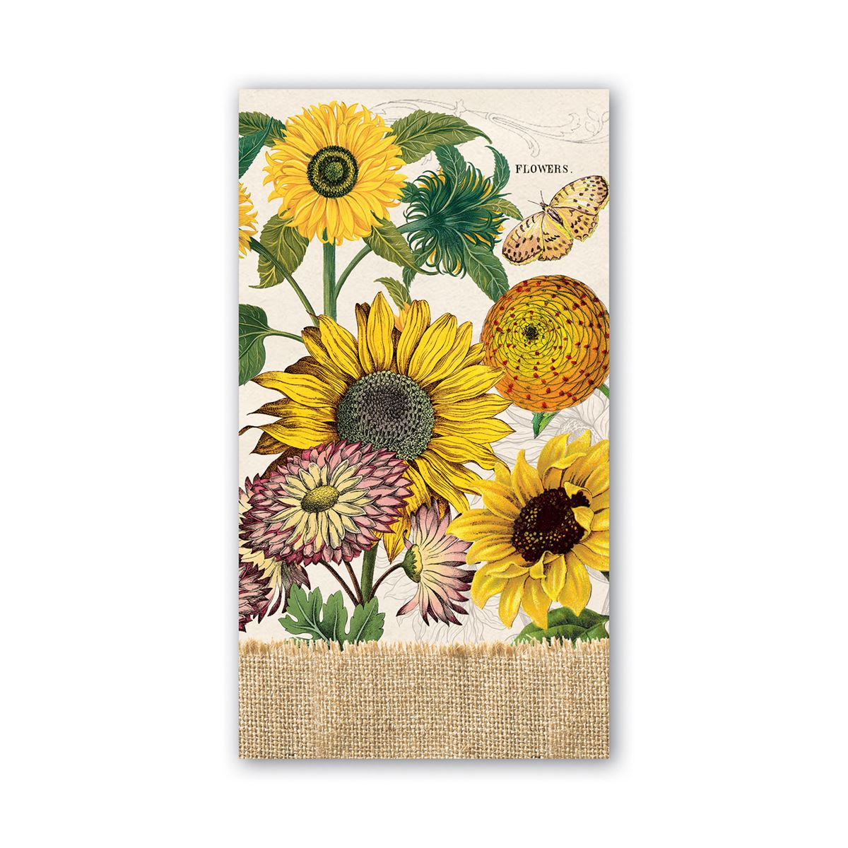 Sunflowers, dahlias, and marigolds are bursting with rich yellows and golds—perfect for autumn and lovely all year round.  These soft, triple-ply hostess napkins have a detailed, sophisticated style and can be paired with our cocktail or luncheon napkins and arranged on a wooden tray for a completed look. Fifteen napkins per pack.