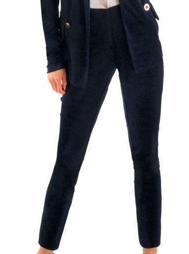 "Our best velvet pants from Gretchen Scott. The pull on wide band waist feature and perfect cut make these a must have. They will be a staple in your holiday closet for decades!  27"" Inseam 2"" Back Ankle Slit Contrast Colored Elasticized Inside Waistband 95% Polyester / 5% Spandex Machine Wash Cold / Cool Tumble Dry or Dry Clean"